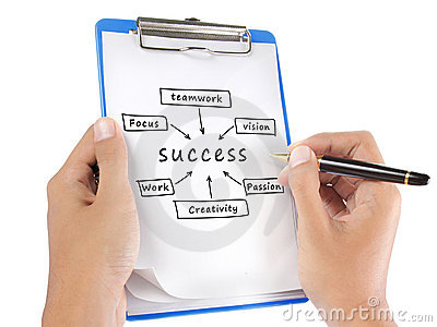 Success flow chart hand write on clipboard