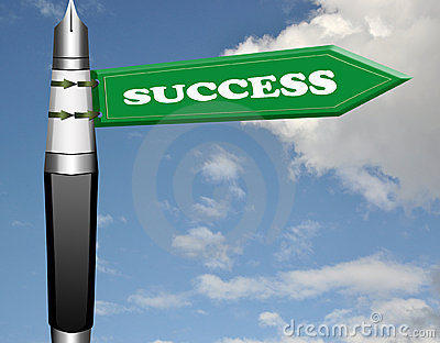 Success fountain pen road sign