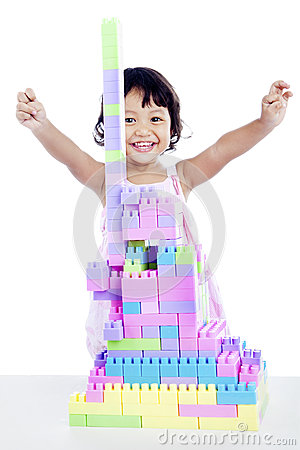 Success girl with  blocks
