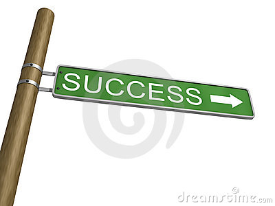 Success Green Road Sign With Arrow on white