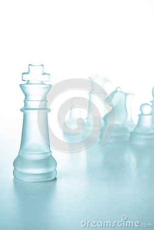 Success and leadership concept, glass chess king