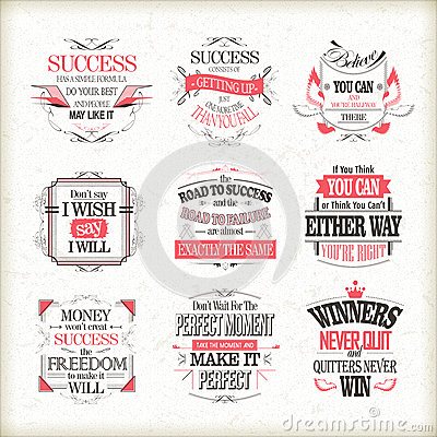 Free Success Motivational And Inspirational Quotes Set Royalty Free Stock Photos - 53814178