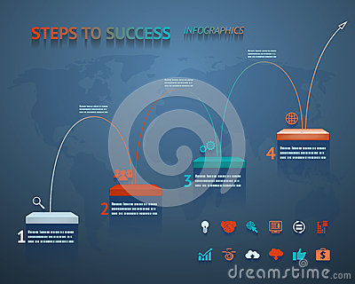 Success Option Steps Template Arrow and Staircase Infographic Icons Vector Illustration Vector Illustration