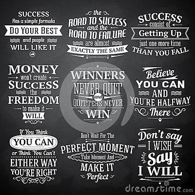 Free Success Quotes Chalkboard Set Royalty Free Stock Image - 47032996