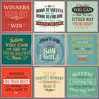 Free Success Quotes Colored Set Royalty Free Stock Images - 47597569
