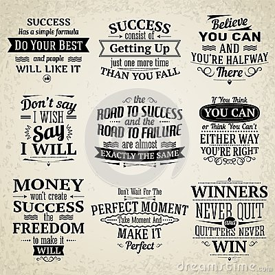 Free Success Quotes Set Stock Images - 46929884