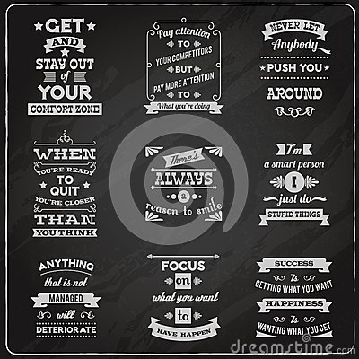 Free Success Quotes Set Chalkboard Stock Images - 47455754