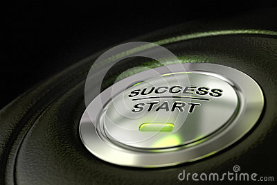 Success start button successful concept
