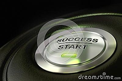 Success start button successful concept