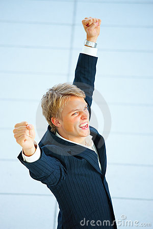 Success - Successful businessman shouting yes !