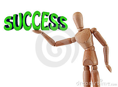 Success text illustration manikin