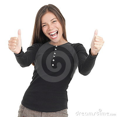 Success thumbs up woman