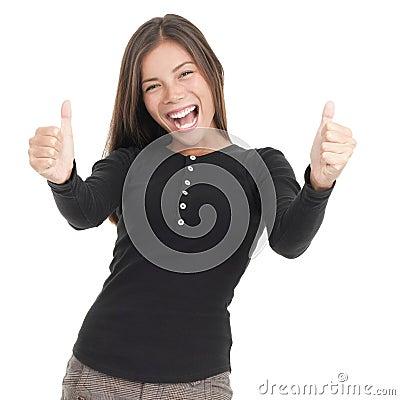 Success thumbs up woman