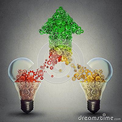 Free Success Two Glass Light Bulbs Releasing Gears In Shape Of Upward Arrow Stock Photos - 56519773