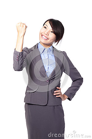 Success winner business woman