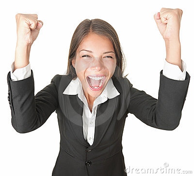 Success / winner business woman isolated