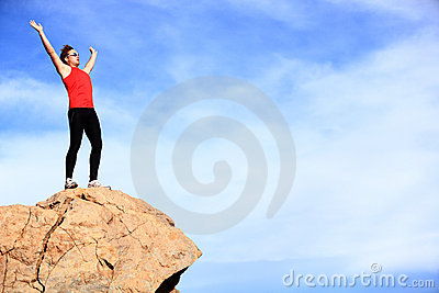 Success - winner reaching summit