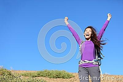 Success woman happy outside