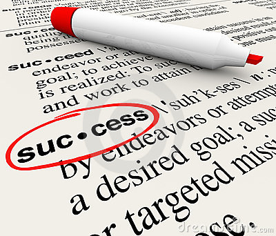 Success Word Definition Circled in Dictionary