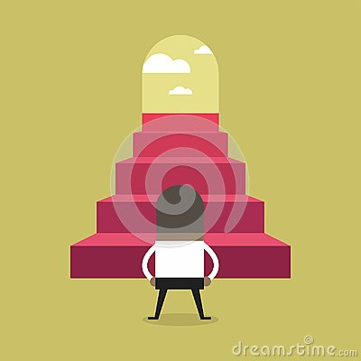 Free Successful African Businessman Climbing Steps. Stock Photography - 123699222