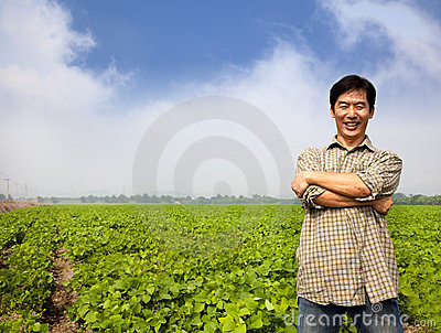 Successful asian  farmer