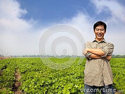 Successful asian  farmer