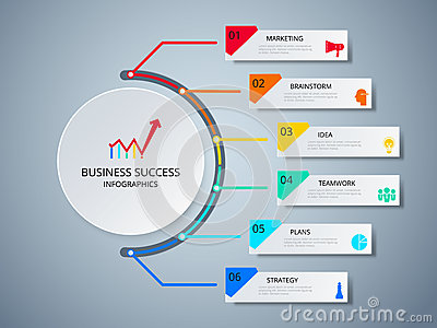 Successful business concept circle infographic template. Infographics with icons and elements Vector Illustration
