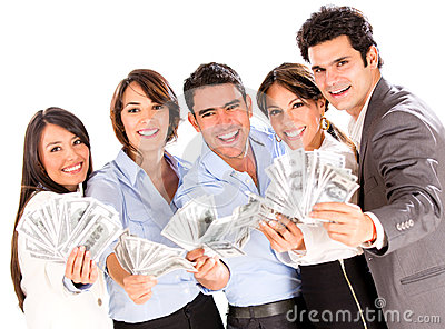 Successful business group with money