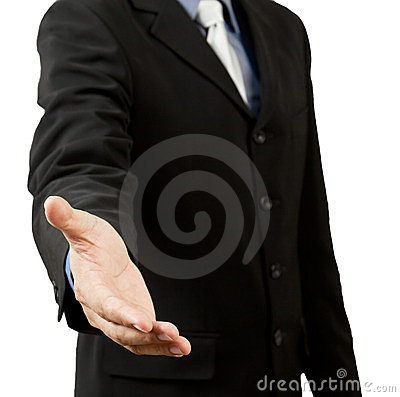 Successful business man, gesturing handshake