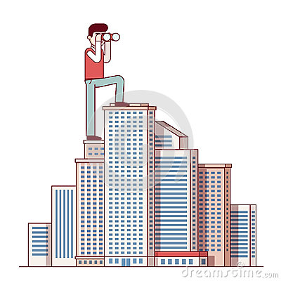 Free Successful Business Man Standing At Skyscraper Top Royalty Free Stock Photos - 82252758