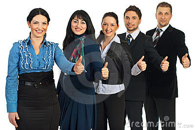 Successful business people gives thumbs