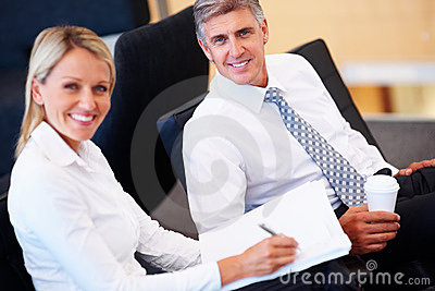 Successful business people working on project