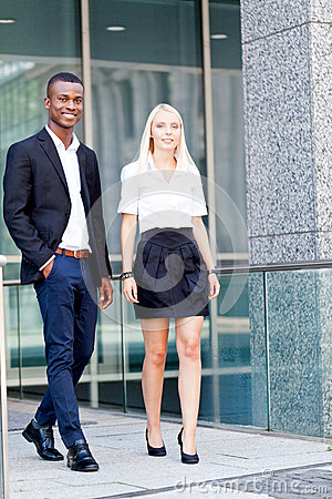 Successful business team diversity outdoor summer