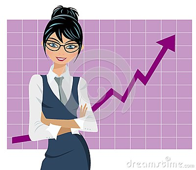 Successful Business Woman in front of Graph