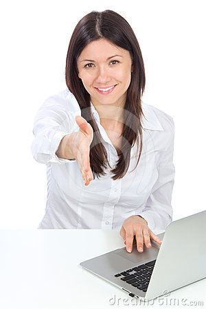 Successful business woman gives a handshake
