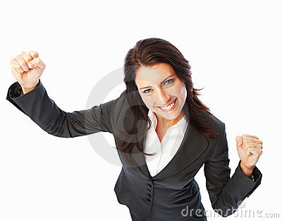 Successful business woman with hands raised