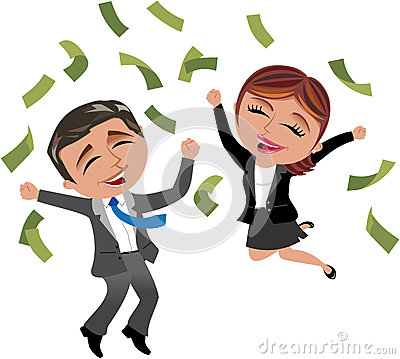 Successful Business Woman and Man under Money Rain