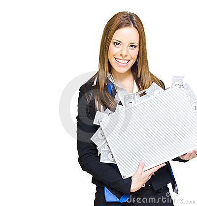 Successful Business Woman With Money Briefcase