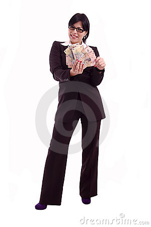Successful business woman showing banknotes