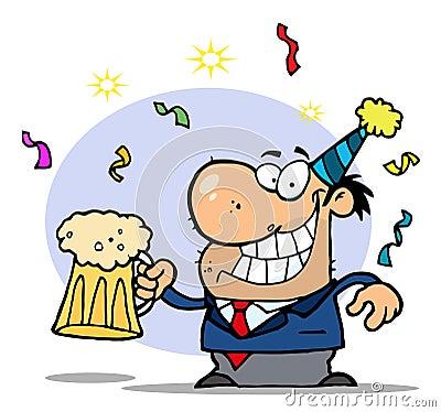Successful businessman celebrating