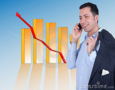 Successful Businessman with a chart behind