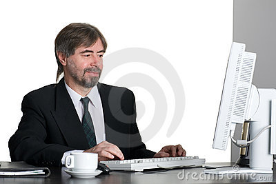 Successful businessman with computer