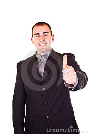 Successful businessman holding thumb up