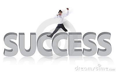 Successful businessman jumping isolated on white