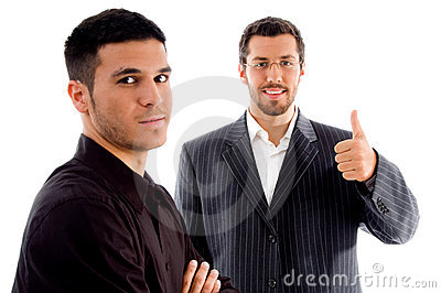Successful businesspeople with thumbs up