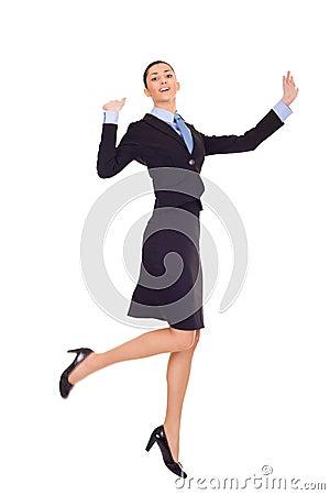 Successful businesswoman celebrating success