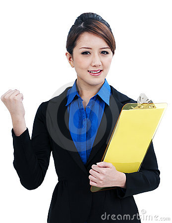 Successful Businesswoman Clenching her Fist