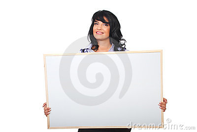 Successful businesswoman holding blank placard