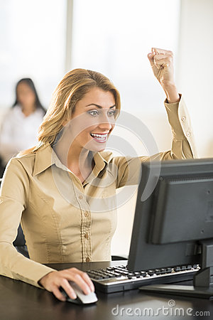 Successful Businesswoman Using Computer At Desk