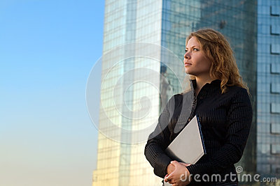 Successful businesswomen holding laptop